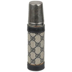 GUCCI VINTAGE Blue Monogram Canvas THERMOS Vacuum Flask