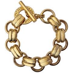 Vintage French Guy Laroche Paris Gold Tone Link Statement Bracelet