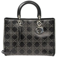 Lady Dior black stud cannage leather GM bag