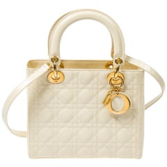 Lady Dior MM in vanilla matte cannage leather
