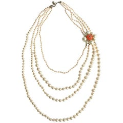 CHANEL Necklace in Pearls and Orange Molten Glass with Orange Fluorescent Nodes