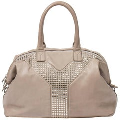 Yves Saint-Laurent Easy Studded MM in light grey small grained leather