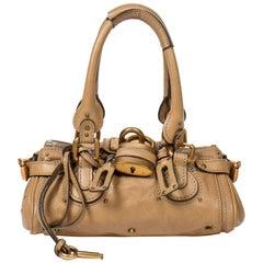 Chloe beige taupe grained leather Paddington PM bag