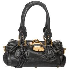 Chloe black grained leather Paddington PM bag