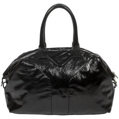 Yves Saint-Laurent black distressed patent leather Easy MM bag