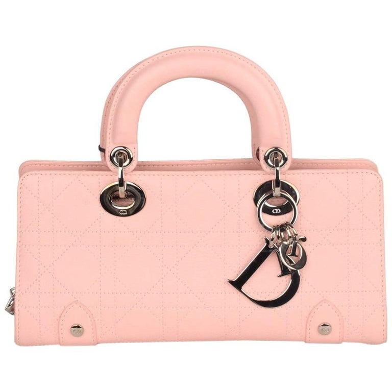 5b2ec48b7688 CHRISTIAN DIOR Baby Pink Cannage EAST WEST LADY DIOR Bag Small For Sale at  1stdibs