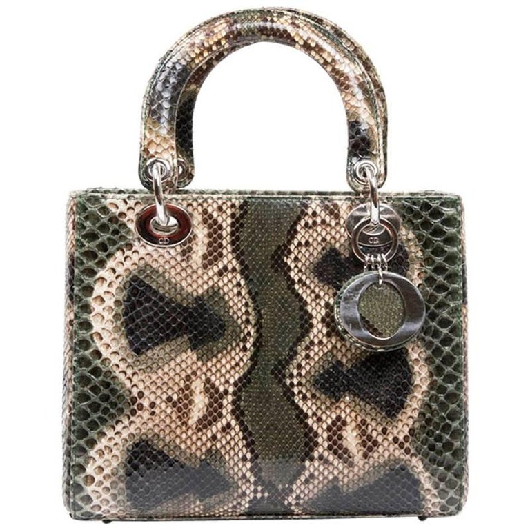 Christian Dior Lady D Bag in Graduated Green Brown and Beige Python