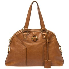 Yves Saint-Laurent Muse 1 MM in light brown small grained leather