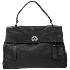 Yves Saint-Laurent black grained leather Muse 2 GM bag