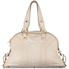 YVES SAINT LAURENT White Leather MUSE BAG Tote