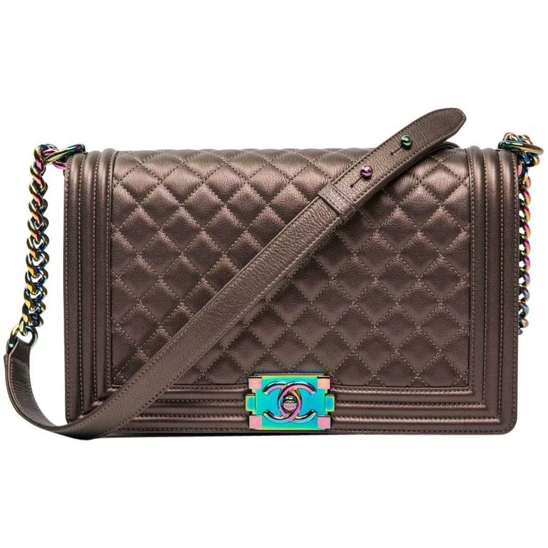 CHANEL Limited Edition 'Boy' Bag in Bronze Quilted Leather