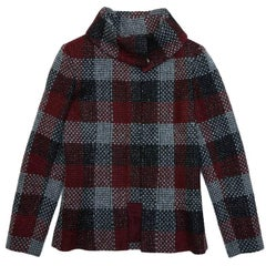 CHANEL Jacket in Red, Silver Black Check Tweed size 38FR