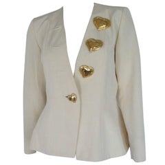 yves saint laurent gold heart buttons jacket