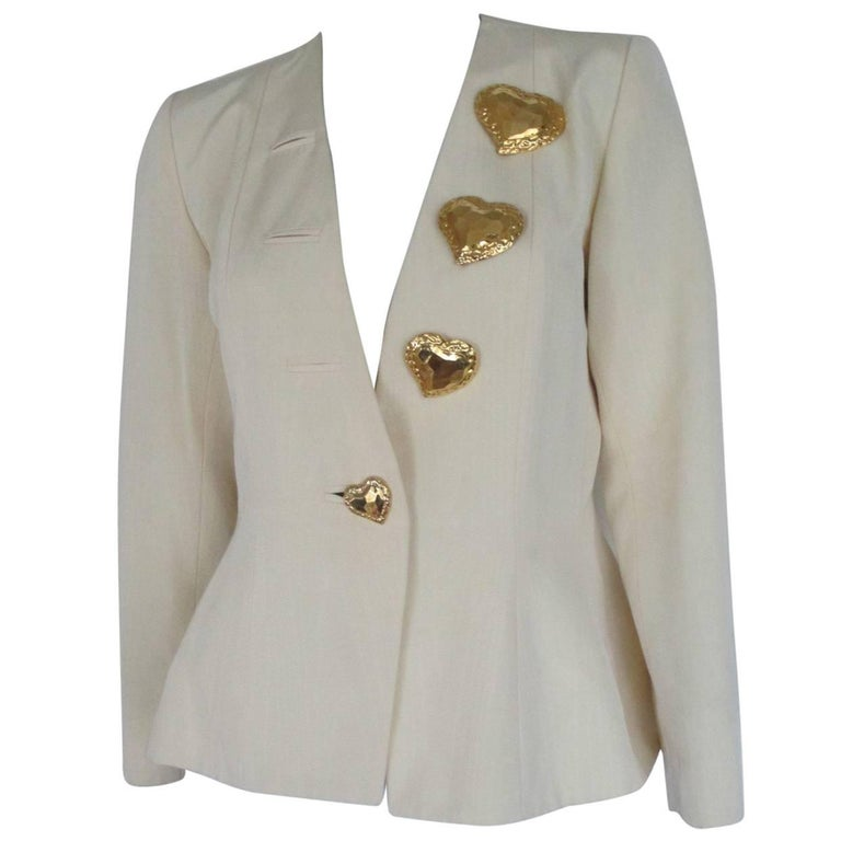 yves saint laurent gold heart buttons jacket For Sale