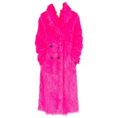 Hot Pink Faux Fur Shaggy Coat, 1990s