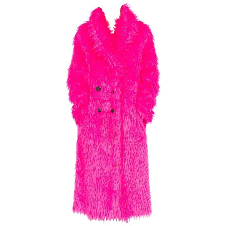 Hot Pink Faux Fur Shaggy Coat, 1990s