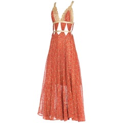 Cut-Out Gown Made From 1930s Silver Metallic Embroidered Silk