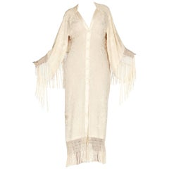 Hand Embroidered Antique Piano Shawl Bias Dress with Cape and Fringe