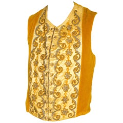 Mens Victorian Velvet and Silk Waistcoat Embroidered in Gold