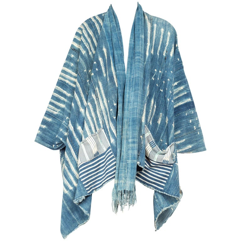 West African Handwoven Tie-dyed Oversized Kimono