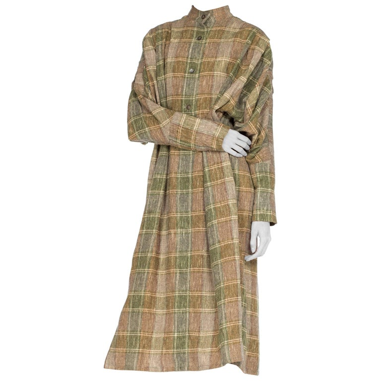 Issey Miyake Plaid Oversize Flannel Pleated Sleeve Tunic Dress