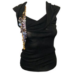 Jean Paul Gaultier Mother of Pearl Buttons Decorated Black Off Shoulder Top