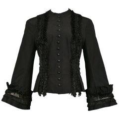 Vintage Alexander McQueen Black Fringe Jacket, 2002