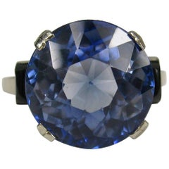 11.5 Carat GIA Certified Round Cut Synthetic Sapphire Engagement Ring, 1920s