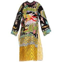Kimono Style Metallic Embroidered Velvet Chinese Opera Dragon Robe, 1970s
