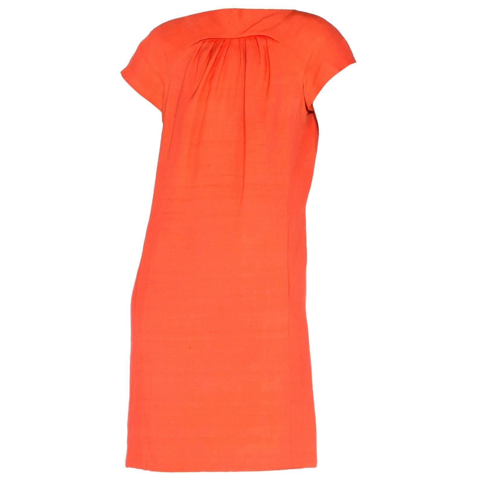 1960S GEOFFREY BEENE Coral Silk Mod Sheath Dress