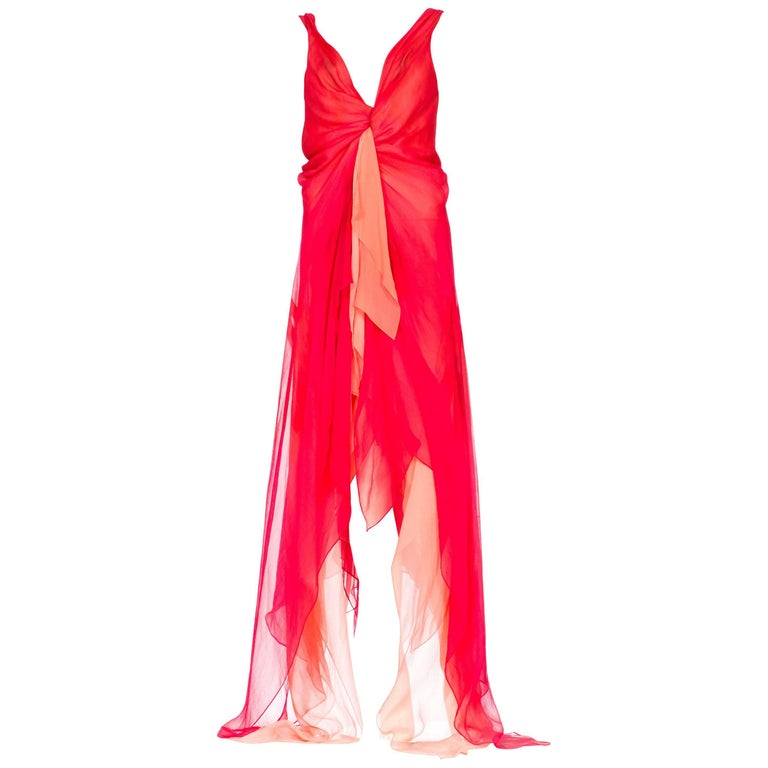 Donna Karan Layers of Red and Pink Chiffon Gown, 1990s