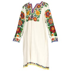 Hand Beaded and Embroidered Linen Folk Dress