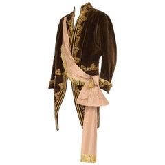 1920S Brown Velvet Men's 18Th Century Style Frock Coat With Antique Gold Metal