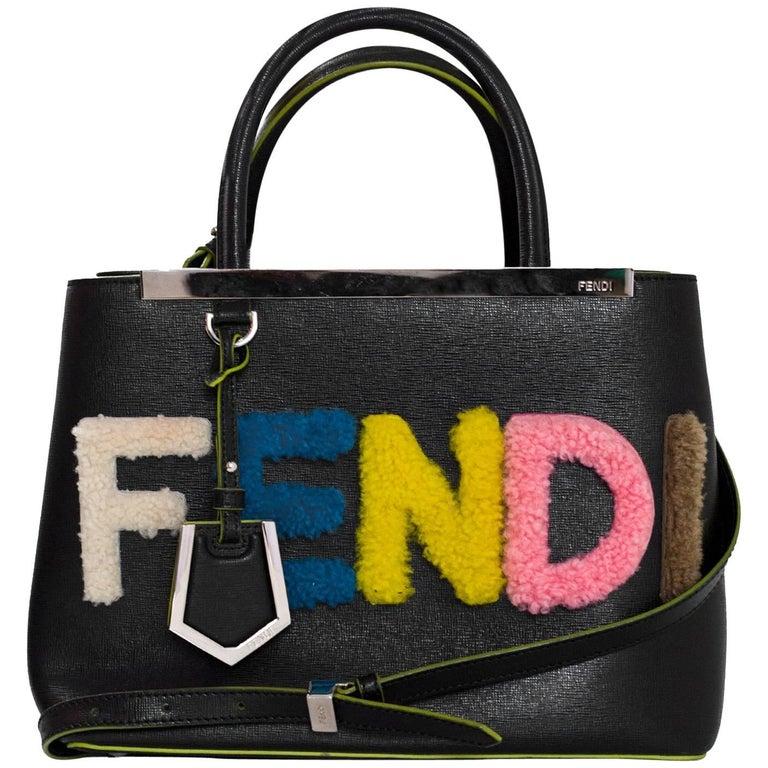 4f158f52c3 Fendi Black Vitello Elite Shearling Logo Petite 2Jours Tote Bag with ...