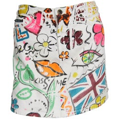 Dolce & Gabbana Graffiti Paint White Denim Skirt