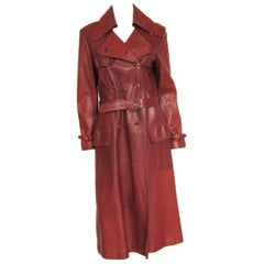 1970s Vintage Gucci Burgundy Leather Logo Trench Coat