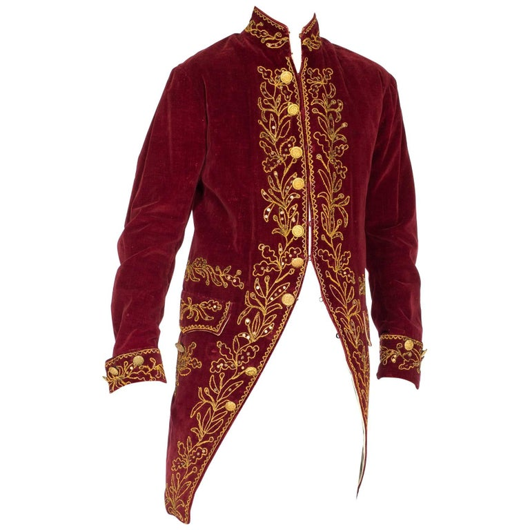 Antique 18th Century Style Velvet Victorian Frock Coat With Gold Embroidery For Sale