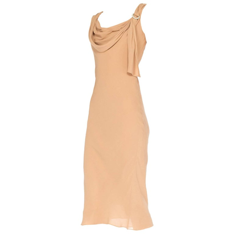 John Galliano Bias Cut Nude Silk Dress, 1990s
