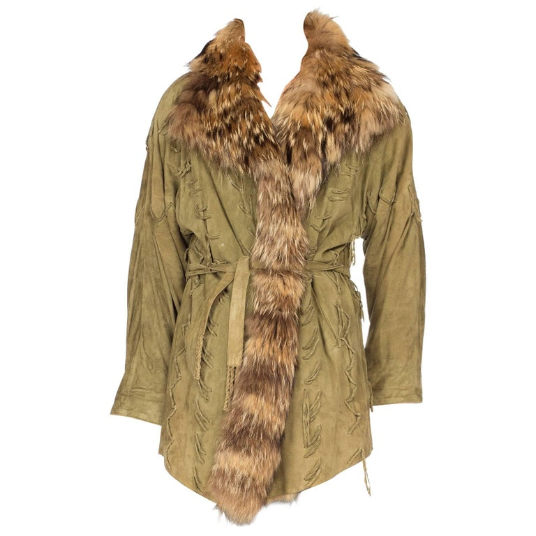 Embroidered Suede Jacket with Large Fur Collar, 1970s