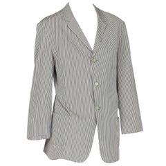 1990S Vivienne Westwood Blue & White Cotton Seersucker Men's Gatsby Style Blazer