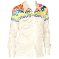 Native American Feather Printed Mens Nik Nik Disco Shirt, 1970s