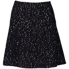 Chanel Black Tweed & Sequin Flared Skirt Sz FR40