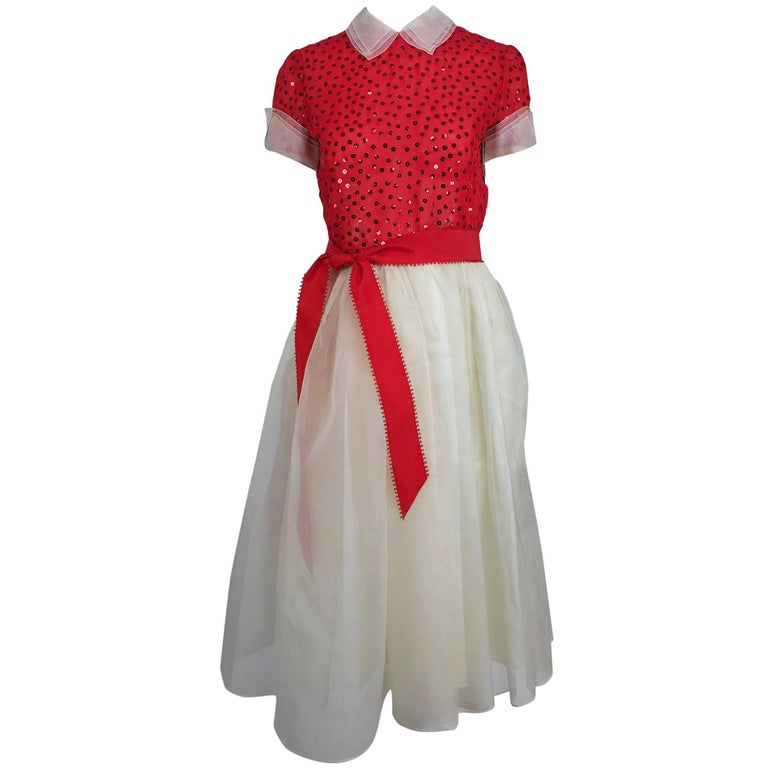Bill Blass red and white sequined organza party dress 1980s For Sale