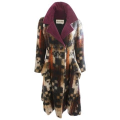 Ronald Amey Colorful Mohair Coat with Silk Collar 1970s Sz M Tzaims Luksus Attr.