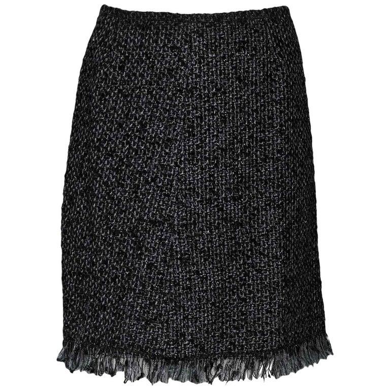 Chanel Black & Grey Tweed Skirt Sz FR40