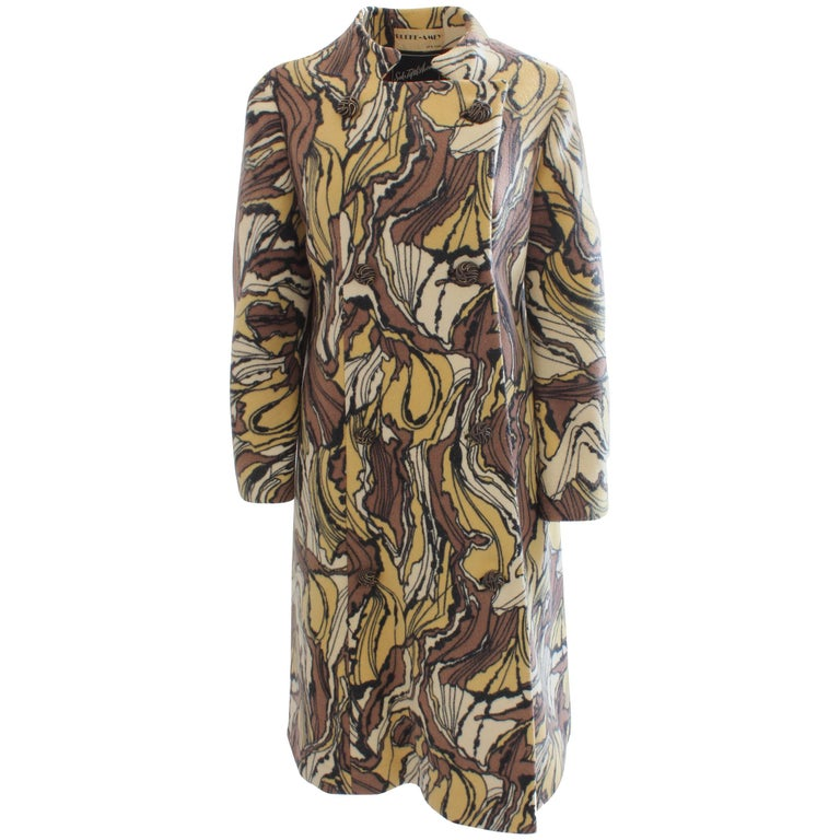 Burke-Amey Wool Coat with Sculptural Collar Tzaims Luksus Att Print, 1960s