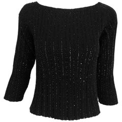 Oscar de la Renta black beaded 100% cashmere pullover sweater