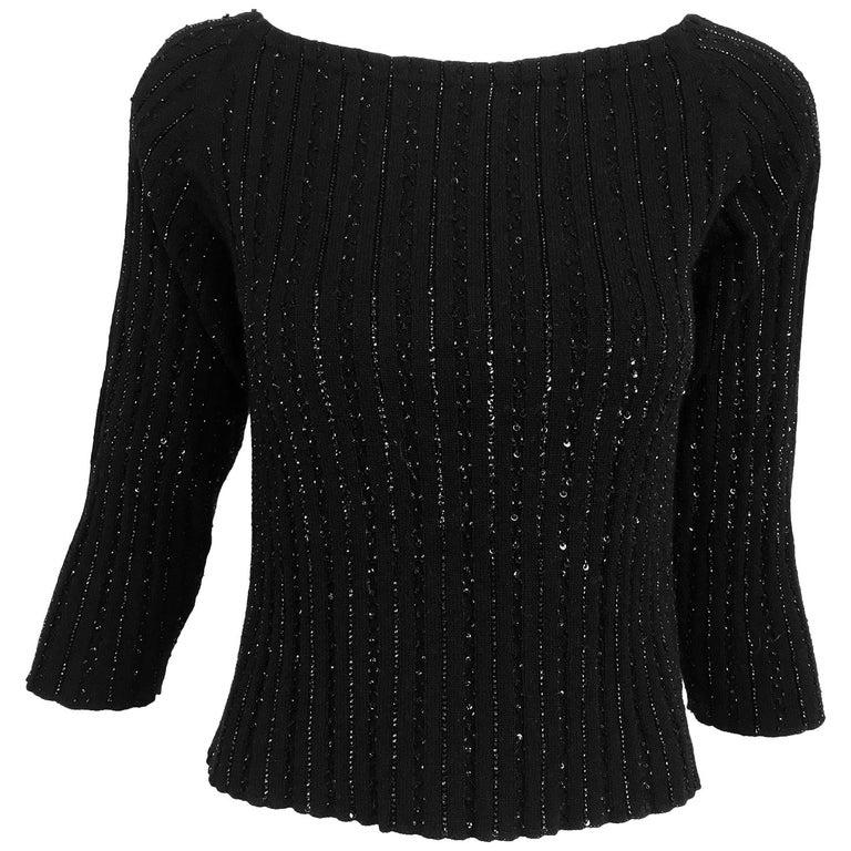 Oscar de la Renta black beaded 100% cashmere pullover sweater