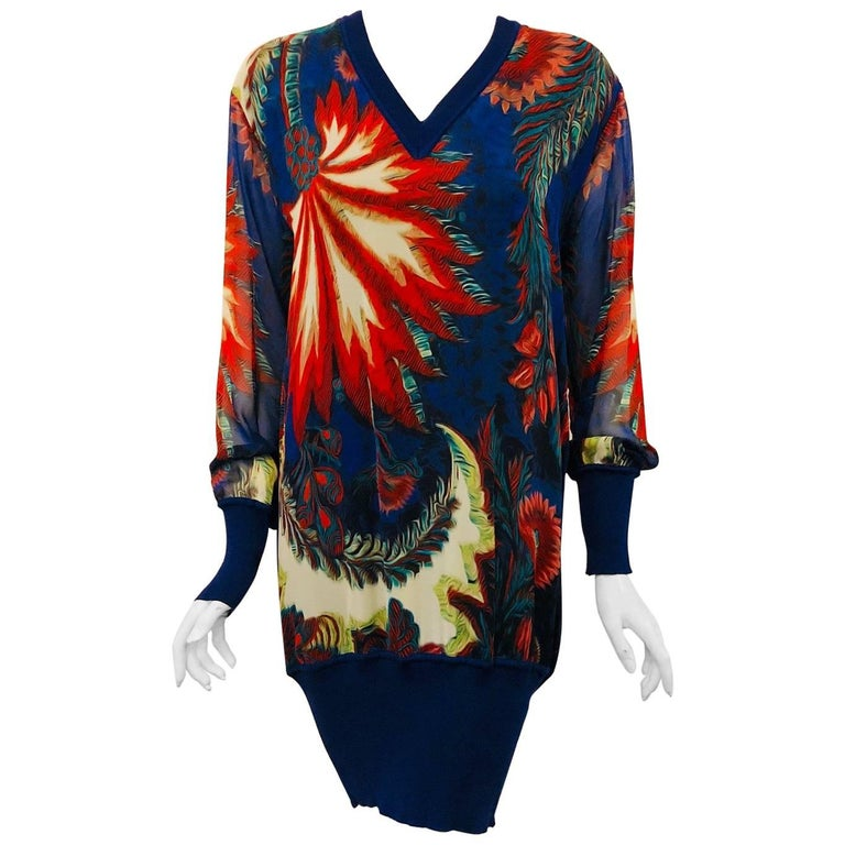 Ravishing Roberto Cavalli Silk Blue & Red Floral Print Long Sleeve Mini Dress