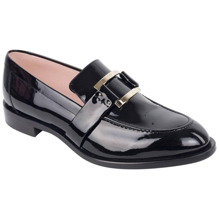 Roger Vivier Women's 30mm Black Patent Leather Loafers